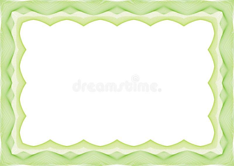 Зеленая рамка шаблона сертификата или диплома - граница иллюстрация вектора