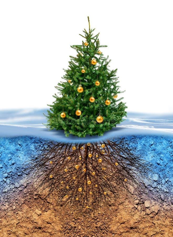 Зеленая рождественская елка с корнями внизу иллюстрация штока