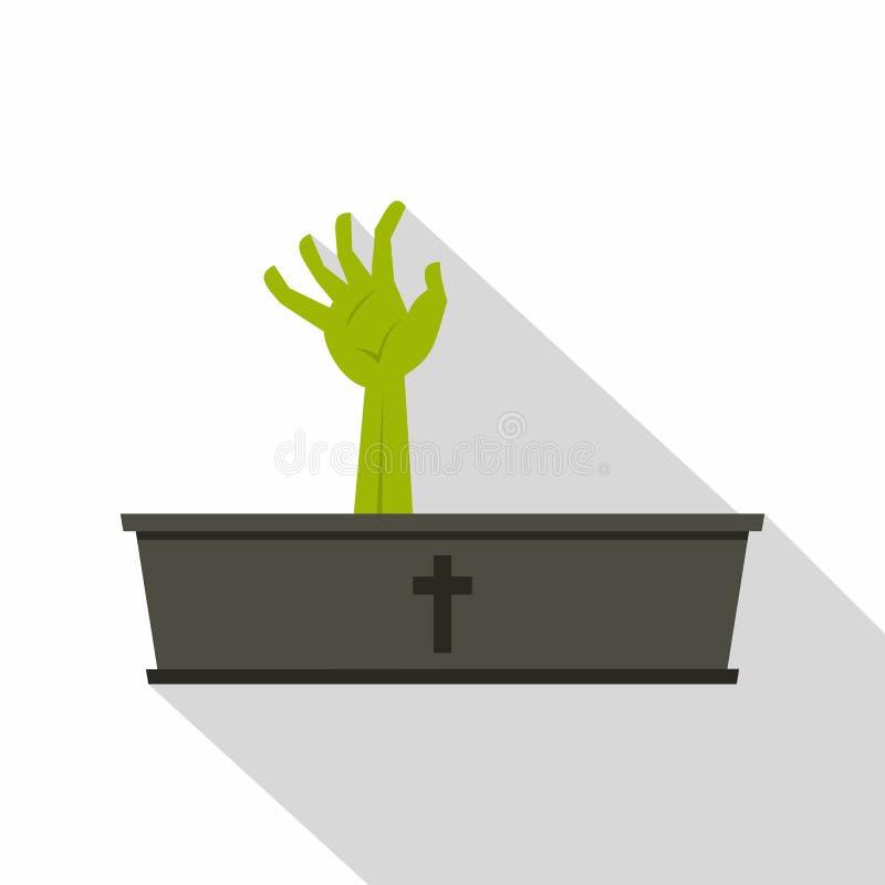 Зеленая рука зомби приходя из его значка гроба иллюстрация вектора