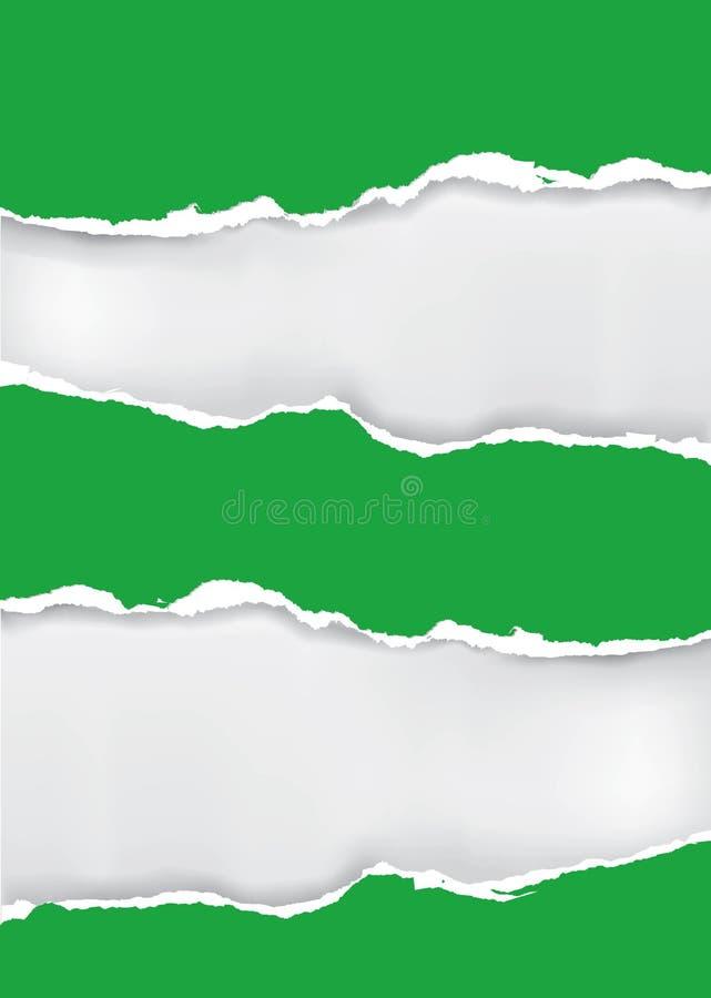 зеленая сорванная бумага иллюстрация вектора
