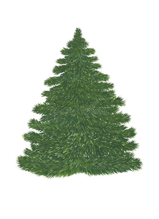 Зеленая сосна без украшения на белой предпосылке Картина гуаши иллюстрация штока