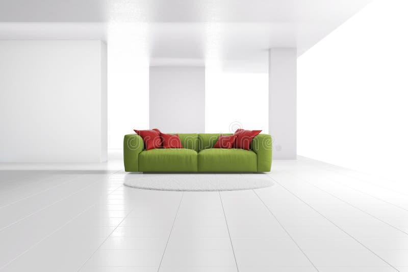 Зеленая софа в белой просторной квартире иллюстрация штока