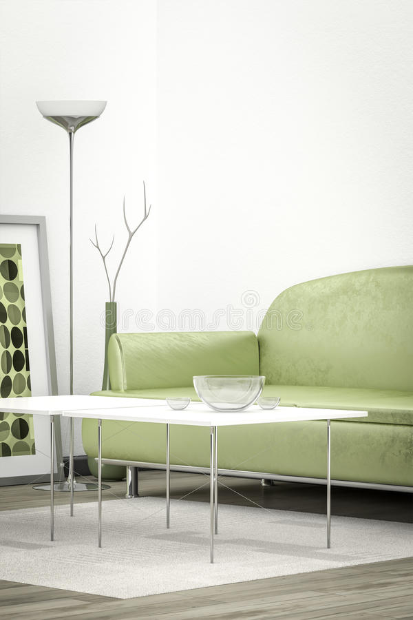 Зеленая софа в вертикали белой комнаты бесплатная иллюстрация