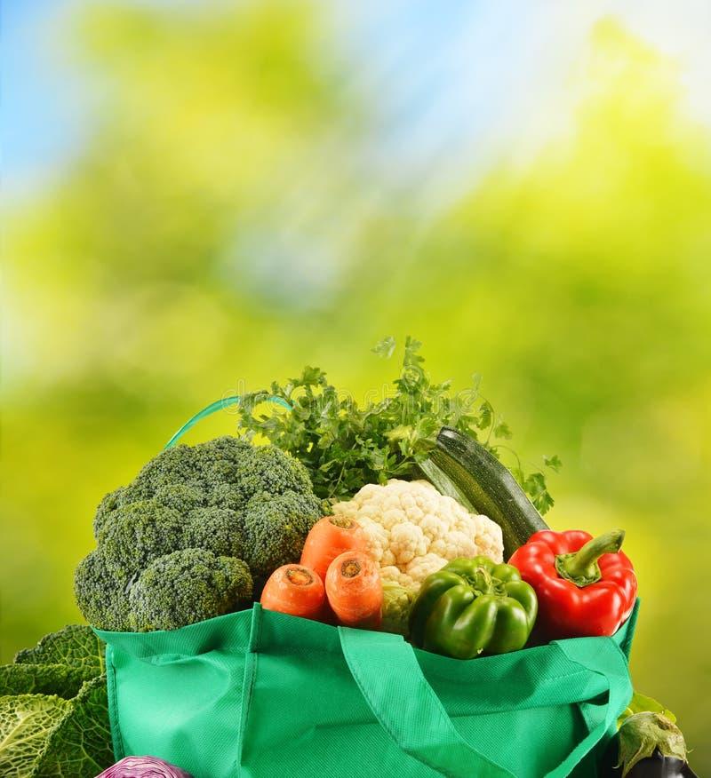 Зеленая сумка с разнообразием свежих органических овощей в саде стоковая фотография