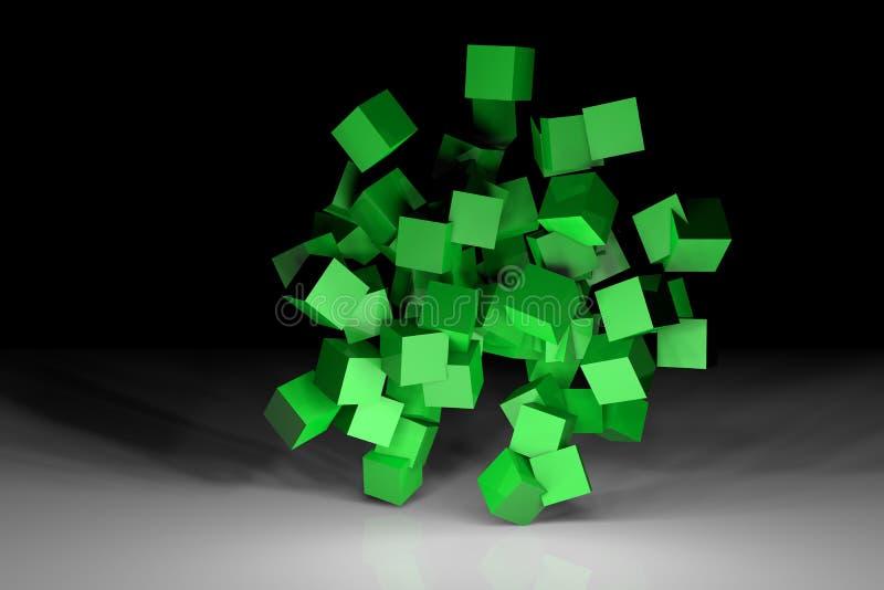 Зеленая сцена кубов стоковые изображения rf