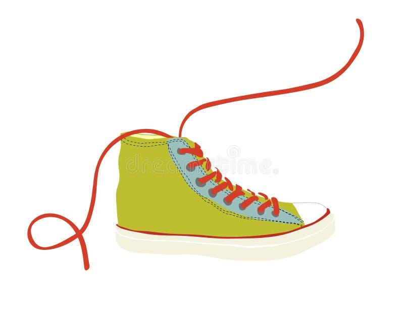 Зеленая тапка молодости битника при красный изолированный шнурок иллюстрация вектора