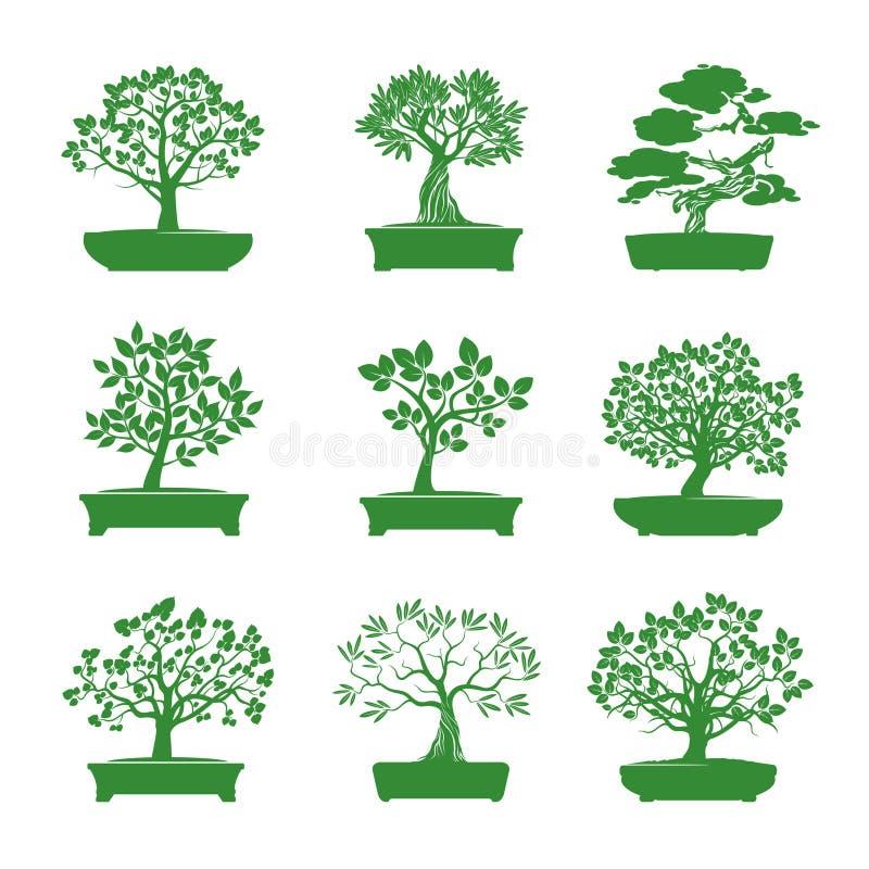 Зеленая форма деревьев бонзаев также вектор иллюстрации притяжки corel бесплатная иллюстрация