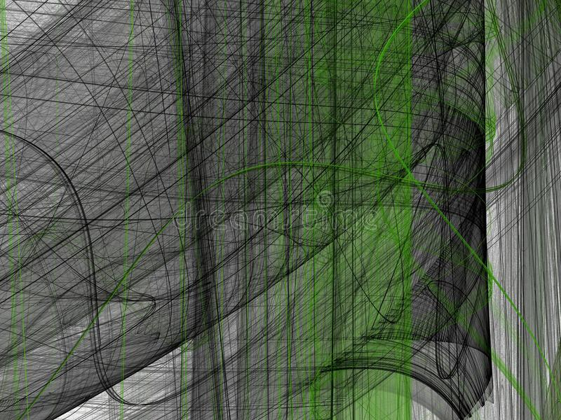 Зеленая черная абстрактная фракталь с изогнутыми линиями бесплатная иллюстрация