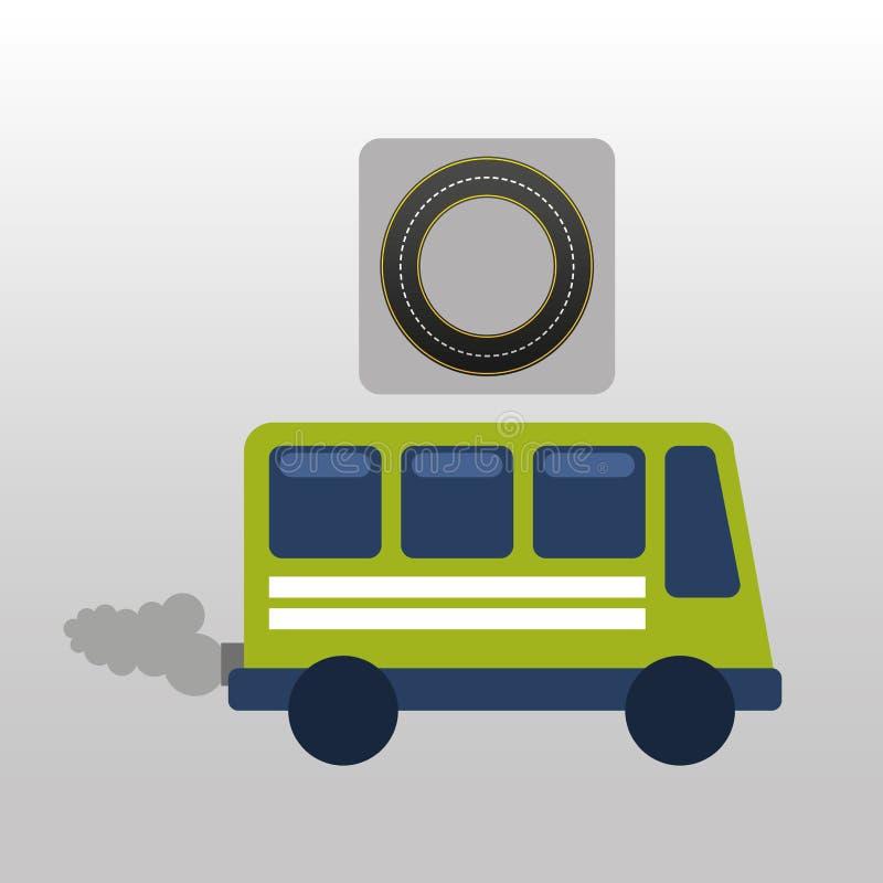 Зеленая шина с дизайном пути дороги круга дыма иллюстрация вектора