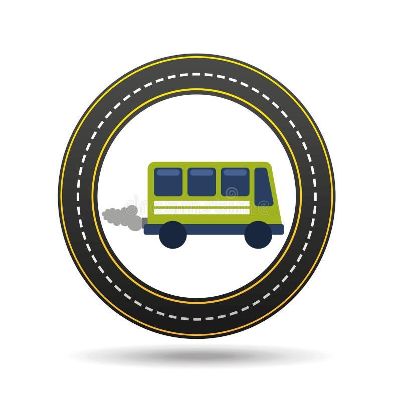 Зеленая шина с дизайном пути дороги круга дыма иллюстрация штока