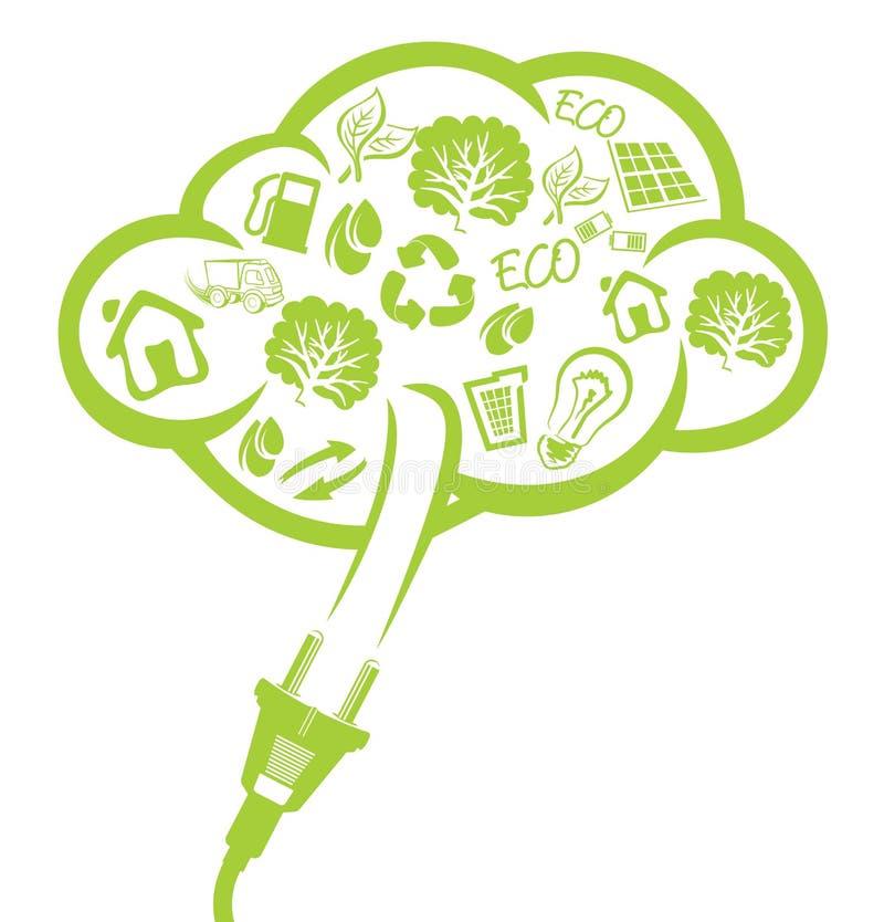 Зеленая штепсельная вилка - концепция электричества иллюстрация штока