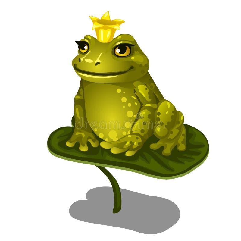 Зеленая лягушка при крона золота сидя на больших лист иллюстрация вектора