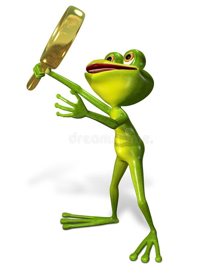 Зеленая лягушка с увеличивать иллюстрация штока