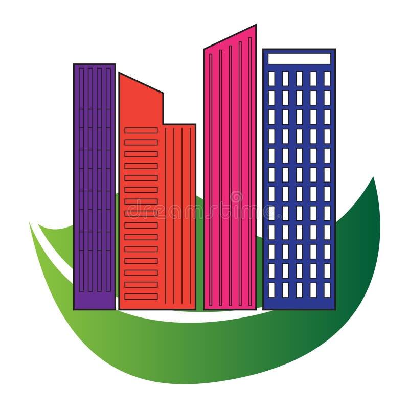Зеленого цвета подъема недвижимости дизайна архитектуры зданий технология высокого устойчивая иллюстрация штока