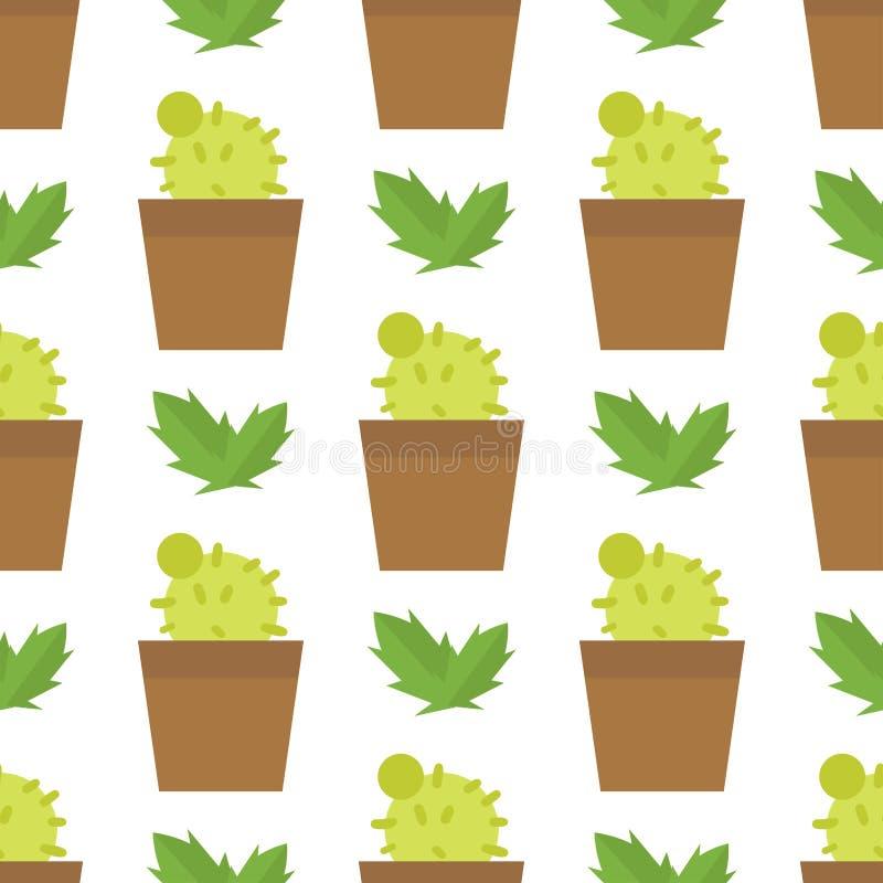 Зеленое дерево кактуса шаржа природы завода пустыни и песка мексиканской картины шаржа лета милой безшовной тропическое цветет иллюстрация штока