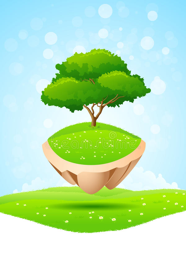 Зеленое дерево на острове иллюстрация штока