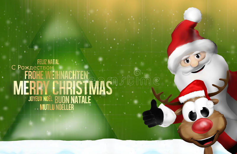 Зеленое дерево multilangual 3d северного оленя Санта Клауса рождества бесплатная иллюстрация