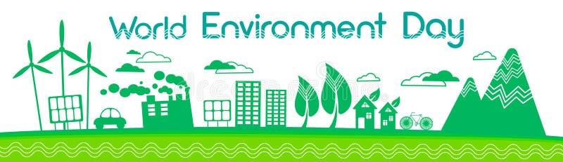 Зеленое знамя дня мировой окружающей среды панели солнечной энергии ветротурбины силуэта города иллюстрация штока