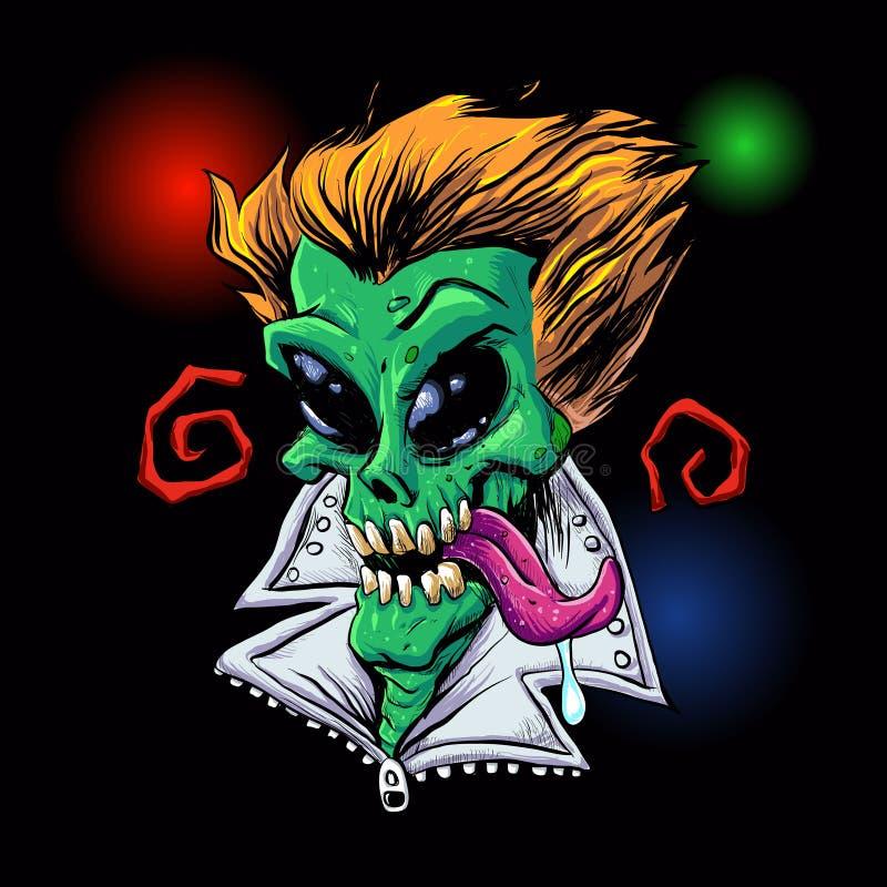 Зеленое зомби чужеземца в партии бесплатная иллюстрация