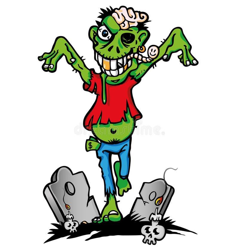 Зеленое зомби иллюстрация вектора