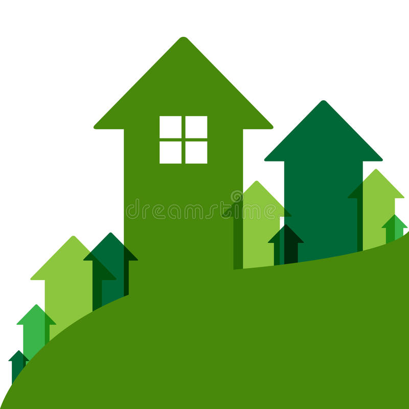 Зеленое домашнее значение иллюстрация вектора