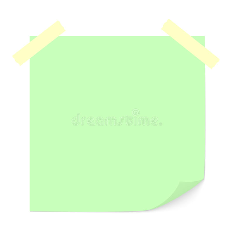 Зеленое примечание ручки. иллюстрация штока
