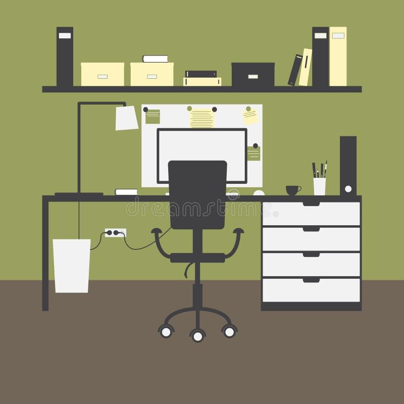 Зеленое рабочее место иллюстрация штока