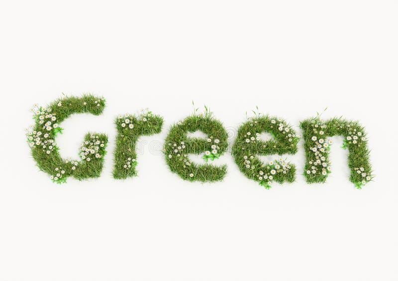 Зеленое слово напечатанное цветками и травой бесплатная иллюстрация