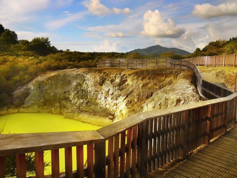 Зеленое термальное озеро, Rotorua, Новая Зеландия стоковая фотография