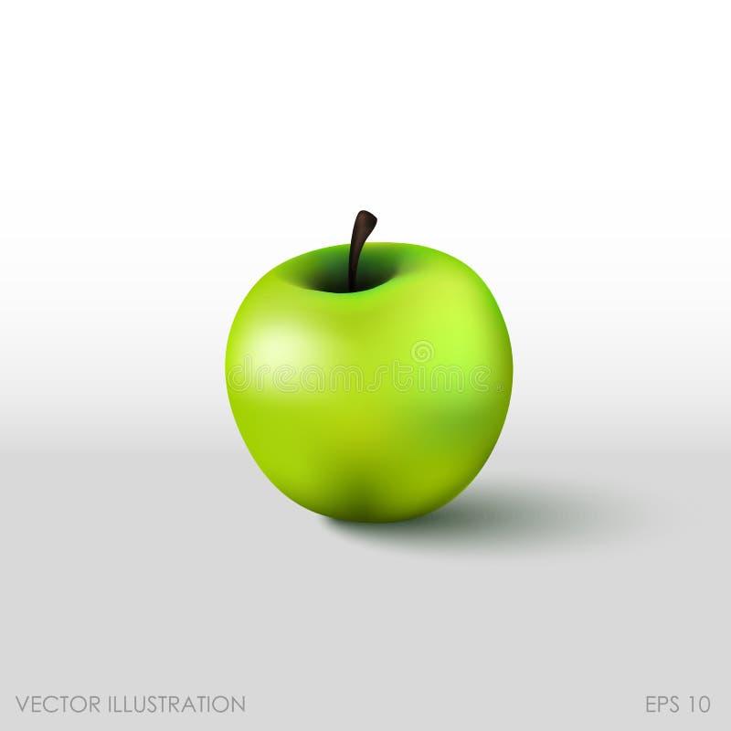 Зеленое яблоко в реалистическом стиле на белой предпосылке иллюстрация вектора
