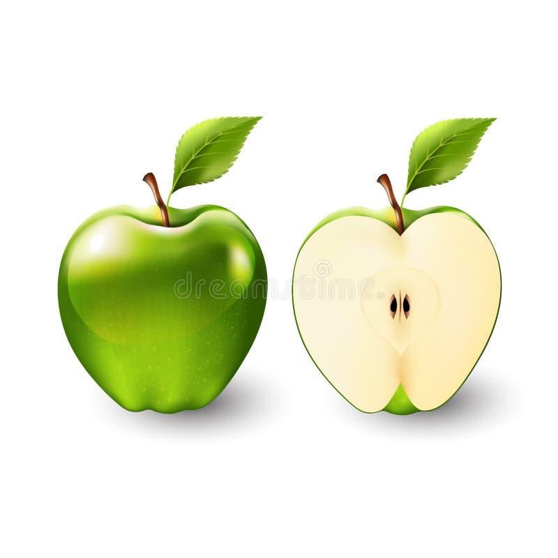 Зеленое яблоко и половина яблока, плодоовощ, прозрачного, вектора иллюстрация вектора
