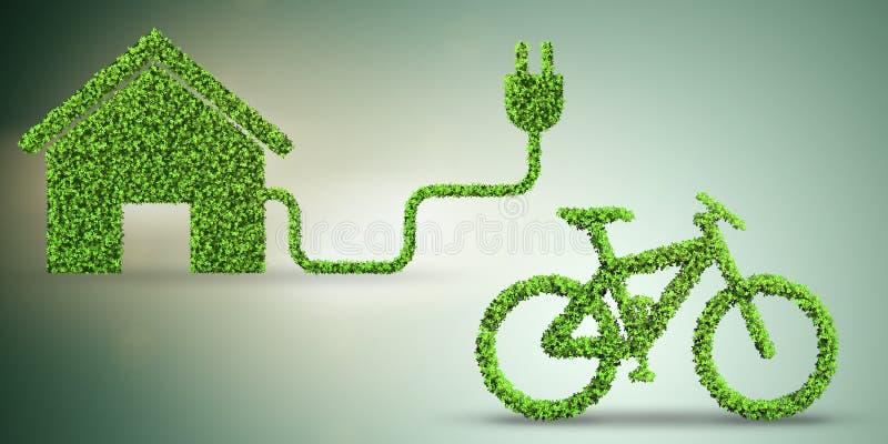 Зеленое bycycle в концепции транспорта - переводе 3d иллюстрация штока
