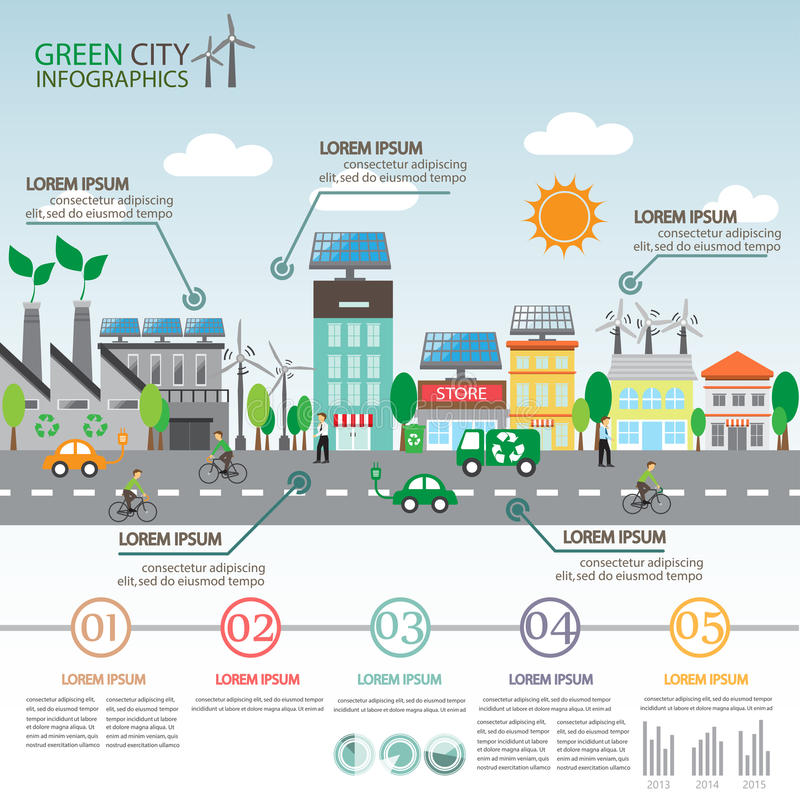 Зеленое infographics города иллюстрация штока