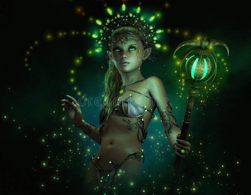 Зеленое Lumi, маленькая фея иллюстрация штока