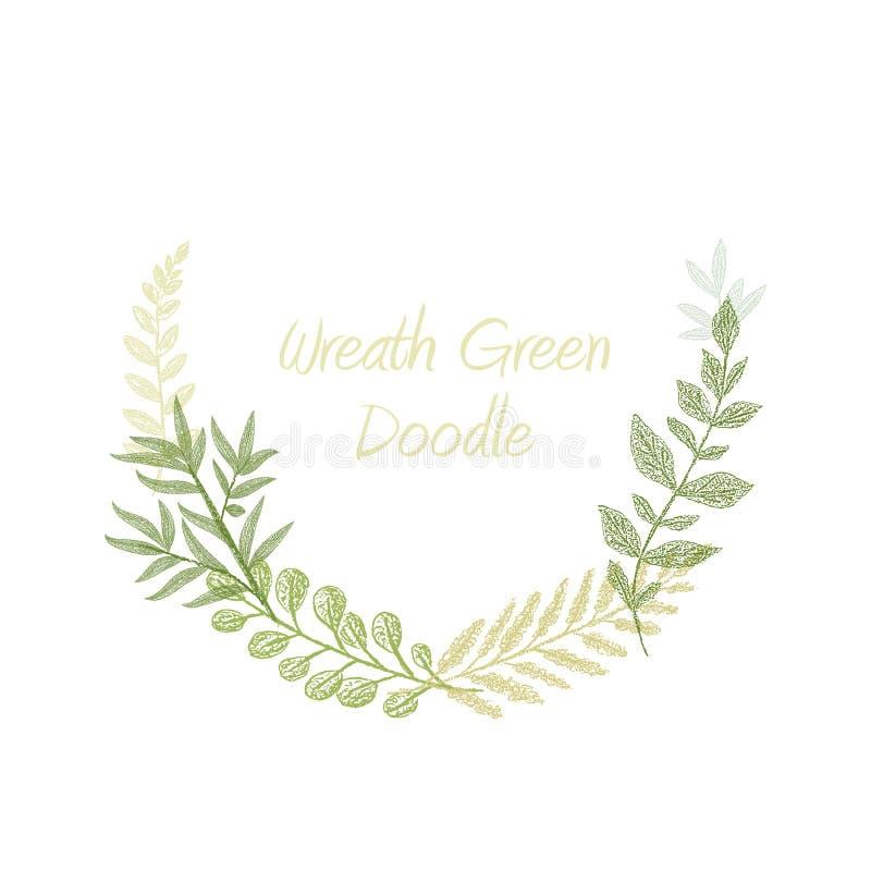 Зеленой вектор границы травы doodle нарисованный рукой иллюстрация штока