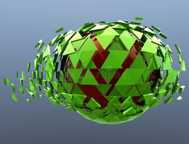 Зеленой изолированное 3d разрушенное сферой абстрактное иллюстрация вектора