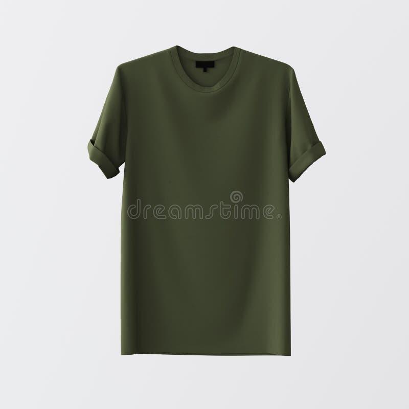 Зеленой пустой предпосылка ткани изолированная футболкой разбивочная белая пустая Материалы текстуры модель-макета сильно детальн стоковое фото