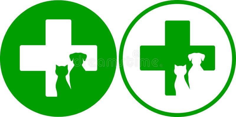 Зеленые ветеринарные значки иллюстрация вектора