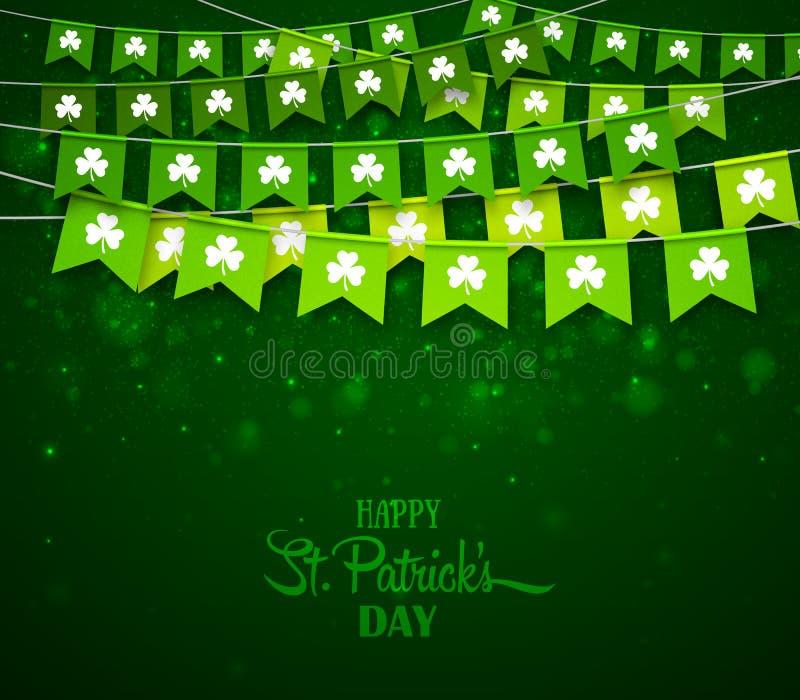 Зеленые гирлянды флагов с клеверами Ирландский день ` s St. Patrick праздника иллюстрация штока