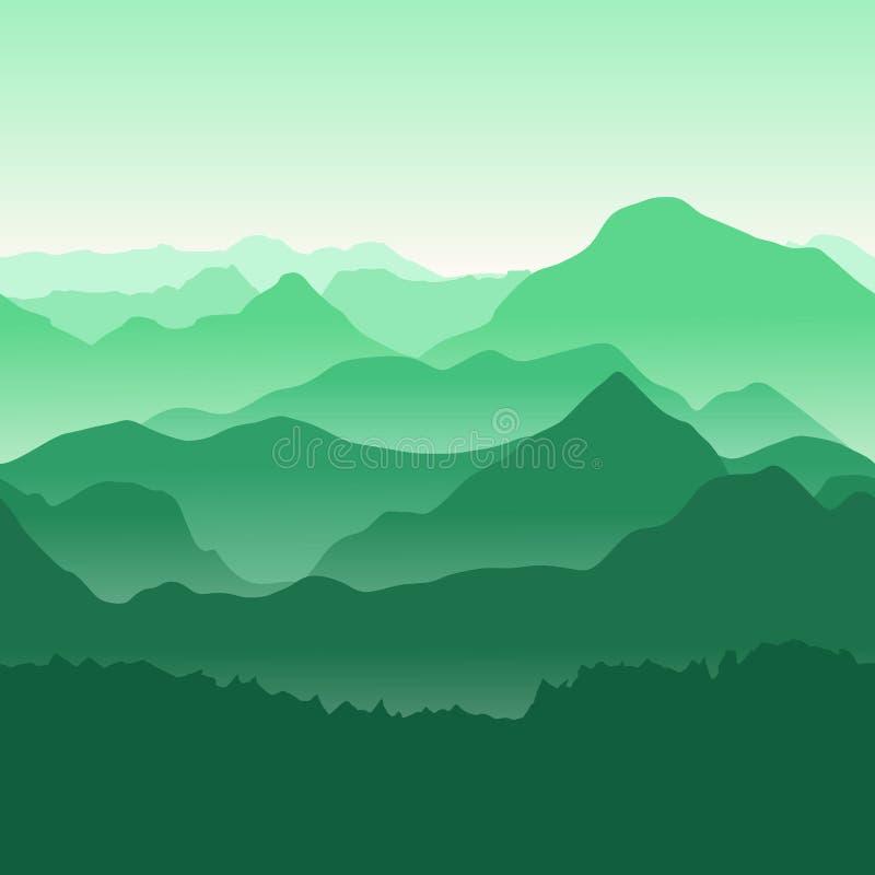 Зеленые горы в тумане Безшовная предпосылка иллюстрация вектора