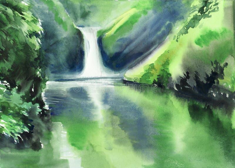 Download Зеленые горы и водопад иллюстрация штока. иллюстрации насчитывающей отражение - 37931041
