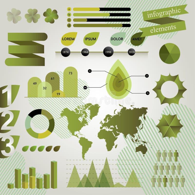 Зеленые графические элементы для Infographics иллюстрация штока