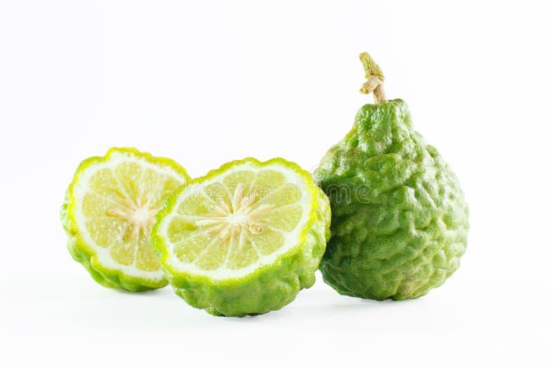 Зеленые грубые плодоовощ бергамота корки или известка kaffir изолированная на белизне стоковые изображения