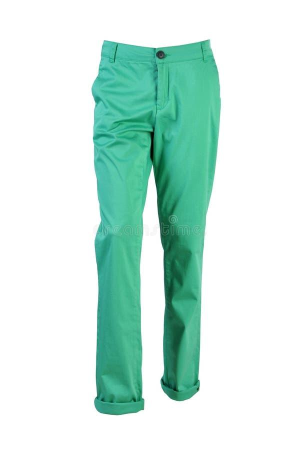 Зеленые джинсы изолированные на белой предпосылке стоковая фотография