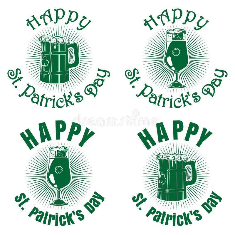 Зеленые знамена установили с пивом на день St Patricks иллюстрация штока