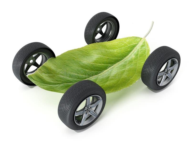Зеленые лист с 4 колесами иллюстрация 3d бесплатная иллюстрация
