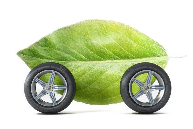 Зеленые лист с 4 колесами иллюстрация 3d иллюстрация вектора