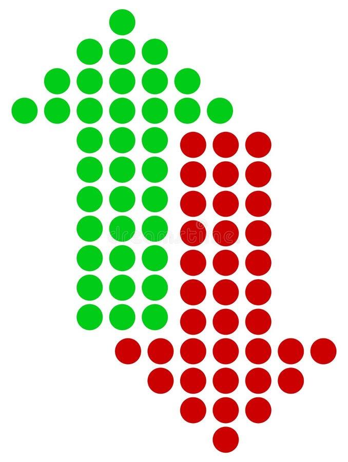 Зеленые и красные стрелки указывая вверх и вниз Прямая вертикальная точка бесплатная иллюстрация