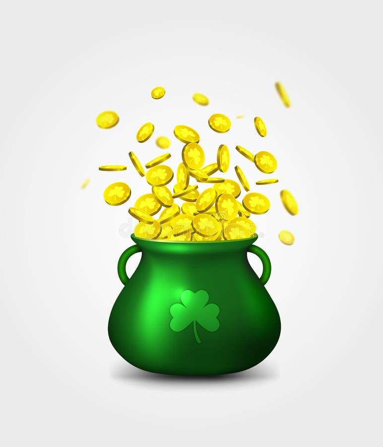 Зеленые монетки горшка с золотом на белой предпосылке Ирландский праздник иллюстрация штока
