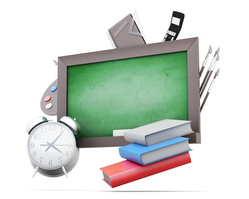 Зеленые доски и школьные принадлежности изолированные на белой предпосылке бесплатная иллюстрация